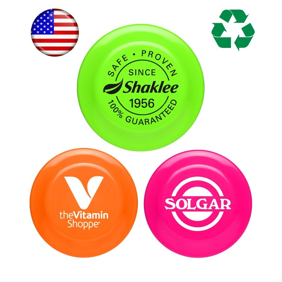 "Have Your Company Soar Above the Competition with These Promotional USA Made Mini 5"" Flying Discs - Neon Colored"