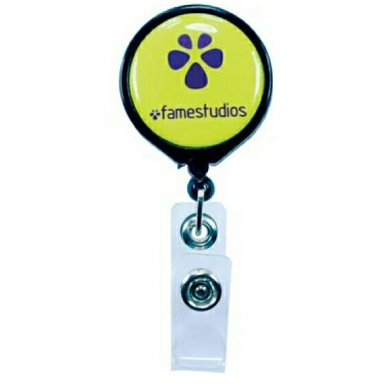 "Promotional Pull Reel / Badge Reel with Belt Clip and 1 3/16"" Diameter Round Imprint Helps Keep the Office Organized"