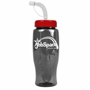 27 oz. Poly Pure Transparent Sports Bottle - Straw Lid