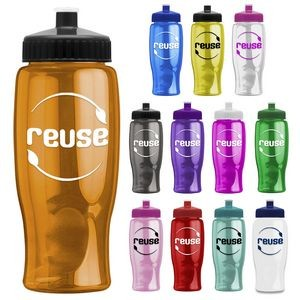 27 oz. Poly-Pure Transparent Sports Bottle -Push Pull Lid
