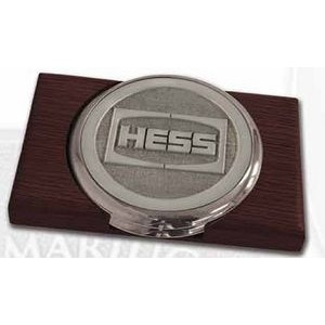 Nickel Plated Boardroom Coaster w/ Pewter Insert - Set of 2 w/ Holder