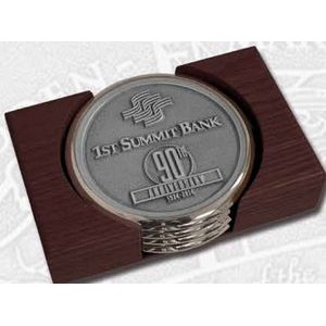 Nickel Plated Boardroom Coaster w/ Pewter Insert - Set of 4 w/ Holder