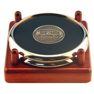 Metal & Leather 2 Coaster Set w/Die Cast Coin