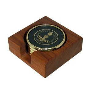 Metal & Leather Coaster Set in Wood Holder