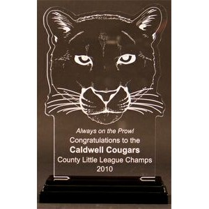 Charging Cougars Award on a Black Base - Acrylic