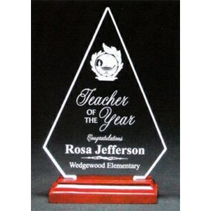 "Brilliant Diamond Award w/ Rosewood Base - Acrylic (10""x7 1/4""x1 3/4"")"